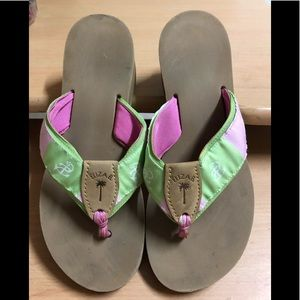 Eliza B Wedge Flip Flop Pink Green 9
